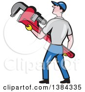 Clipart Of A Retro Cartoon White Male Plumber Holding A Giant Monkey Wrench Royalty Free Vector Illustration