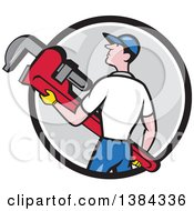 Clipart Of A Retro Cartoon White Male Plumber Holding A Giant Monkey Wrench In A Black White And Gray Circle Royalty Free Vector Illustration