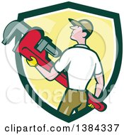 Clipart Of A Retro Cartoon White Male Plumber Holding A Giant Monkey Wrench In A Green White And Yellow Shield Royalty Free Vector Illustration