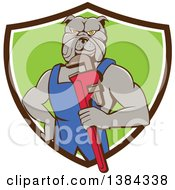 Clipart Of A Muscular Bulldog Man Plumber Mascot Holding A Monkey Wrench And Emerging From A Brown White And Green Shield Royalty Free Vector Illustration