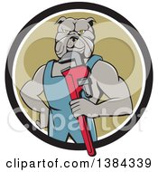 Clipart Of A Muscular Bulldog Man Plumber Mascot Holding A Monkey Wrench And Emerging From A Black White And Green Circle Royalty Free Vector Illustration