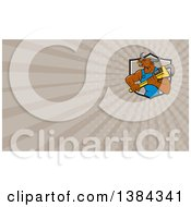 Clipart Of A Cartoon Bull Man Plumber Mascot Holding A Monkey Wrench And Taupe Rays Background Or Business Card Design Royalty Free Illustration