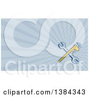 Clipart Of A Retro Crossed Spanner And Monkey Wrenches And Blue Rays Background Or Business Card Design Royalty Free Illustration