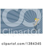 Clipart Of A Retro Cartoon White Male Plumber Holding A Giant Monkey Wrench And Blue Rays Background Or Business Card Design Royalty Free Illustration