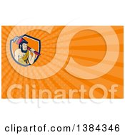 Clipart Of A Cartoon Neanderthal Caveman Plumber Holding A Monkey Wrench Over His Shoulder And Orange Rays Background Or Business Card Design Royalty Free Illustration by patrimonio