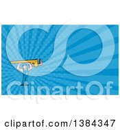 Clipart Of A Retro Cartoon White Male Plumber Holding Up A Giant Monkey Wrench And Blue Rays Background Or Business Card Design Royalty Free Illustration