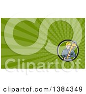 Clipart Of A Retro Cartoon White Male Plumber Holding A Giant Monkey Wrench And Green Rays Background Or Business Card Design Royalty Free Illustration