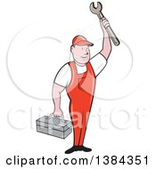 Clipart Of A Retro Cartoon White Male Mechanic Holding A Tool Box And Wrench Royalty Free Vector Illustration