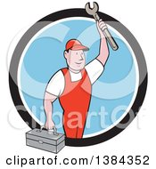 Clipart Of A Retro Cartoon White Male Mechanic Holding A Tool Box And Wrench In A Black White And Blue Circle Royalty Free Vector Illustration