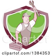 Clipart Of A Retro Cartoon White Male Mechanic Holding A Tool Box And Wrench In A Shield Royalty Free Vector Illustration
