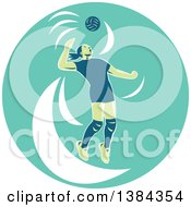 Clipart Of A Retro Female Volleyball Player Jumping And Spiking The Ball In A Turquoise Oval Royalty Free Vector Illustration by patrimonio