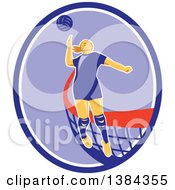 Clipart Of A Retro Female Volleyball Player Jumping And Spiking The Ball In A Blue Purple And White Oval Royalty Free Vector Illustration by patrimonio