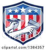Clipart Of Hands Of A Retro Plasterer Repairing Drywall With Putty Knife And Hawk In An American Themed Shield Royalty Free Vector Illustration