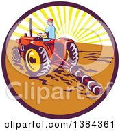 Poster, Art Print Of Retro Male Farmer Operating A Tractor And Plow In A Sunrise Circle