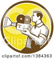 Clipart Of A Profiled Retro Camera Man Filming In A Brown White And Yellow Circle Royalty Free Vector Illustration by patrimonio
