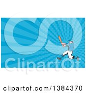 Clipart Of A Retro Cartoon White Male Baseball Player Athlete Batting And Blue Rays Background Or Business Card Design Royalty Free Illustration