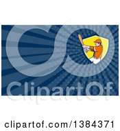 Clipart Of A Retro Cartoon White Male Baseball Player Athlete Batting In A Shield And Blue Rays Background Or Business Card Design Royalty Free Illustration