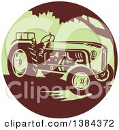 Clipart Of A Retro Vintage Farm Tractor In A Brown And Green Circle Royalty Free Vector Illustration