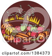 Clipart Of A Retro Woodcut Still Life Of Harvest Vegetables And Fruit With Trees In A Brown Circle Royalty Free Vector Illustration by patrimonio