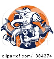 Clipart Of A Retro Woodcut Ganesha Handy Man Elephant Holding Tools In An Orange Circle Royalty Free Vector Illustration