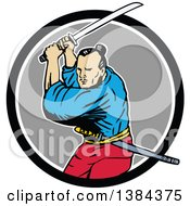 Clipart Of A Sketched Samurai Warrior Fighting With A Katana Sword In A Black White And Gray Circle Royalty Free Vector Illustration