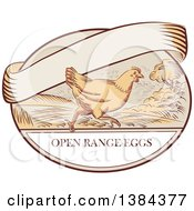 Sketched Retro Chicken Running On A Label With Open Range Text And A Blank Ribbon Banner