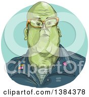 Clipart Of A Sketched Green Alien General Wearing Glasses In A Blue Oval Royalty Free Vector Illustration by patrimonio