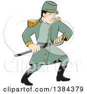 Clipart Of A Cartoon American Confederate Army Soldier Drawing His Sword Royalty Free Vector Illustration