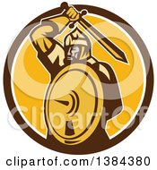 Clipart Of A Retro Mongol Horde Barbarian Warrior Holding A Sword And Shield In A Brown White And Yellow Circle Royalty Free Vector Illustration
