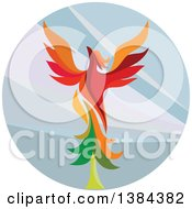 Clipart Of A Retro Colorful Flying Phoenix Bird Over A Circle Royalty Free Vector Illustration