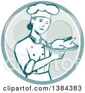 Retro Female Chef Holding A Roasted Chicken On A Plate In A Circle