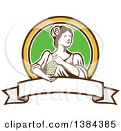 Retro Lady Holding A Bunch Of Green Grapes In A Brown Yellow White And Green Circle Over A Blank Ribbon Banner