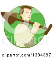 Clipart Of A Retro Male Gardener Holding A Shovel Over His Shoulder In A Green Circle Royalty Free Vector Illustration by patrimonio