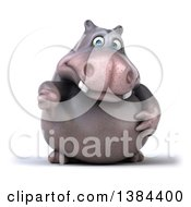 Clipart Of A 3d Henry Hippo Character Giving A Thumb Down On A White Background Royalty Free Illustration