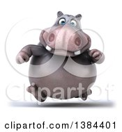 Clipart Of A 3d Henry Hippo Character Running On A White Background Royalty Free Illustration
