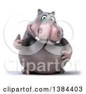 Clipart Of A 3d Henry Hippo Character Giving A Thumb Up On A White Background Royalty Free Illustration