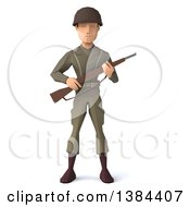 3d Low Poly Geometric Caucasian Male Army Soldier On A White Background