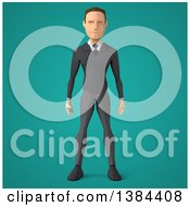 Clipart Of A 3d Low Poly Caucasian Business Man On A Turquoise Background Royalty Free Illustration