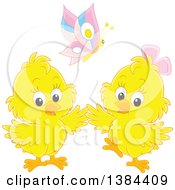 Clipart Of A Butterfly Over Two Yellow Spring Chicks Royalty Free Vector Illustration