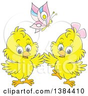 Clipart Of A Cartoon Butterfly Over Two Spring Chicks Royalty Free Vector Illustration