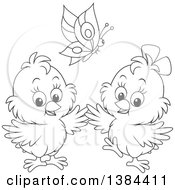 Cartoon Black And White Butterfly Over Two Spring Chicks