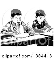 Clipart Of Black And White Male Class Mates Working Side By Side At Their Desks Royalty Free Vector Illustration