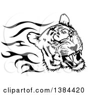 Clipart Of A Black And White Flaming Tribal Tiger Royalty Free Vector Illustration