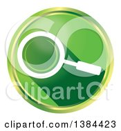 Round Green Magnifying Glass Website Search Icon Button On A White Background