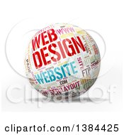 3d Colorful Web Design Tag Word Collage Sphere On White