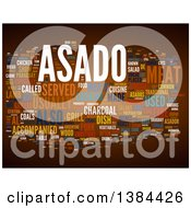 Clipart Of A Grill Party Asado Tag Word Collage On Brown Royalty Free Illustration