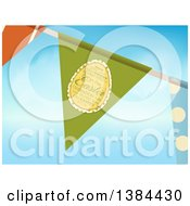 Clipart Of A Party Bunting Banner With A Text Easter Egg Over Sky Royalty Free Vector Illustration