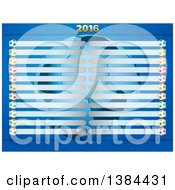 Clipart Of A Football Soccer Ball Championship Table With 2016 Over Blue Royalty Free Vector Illustration
