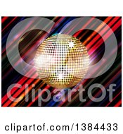 3d Gold Sparkly Music Disco Ball Over Diagonal Colorful Stripes