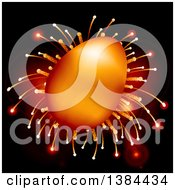Clipart Of A 3d Gold Easter Egg Over Fireworks And Lens Flares On Black Royalty Free Vector Illustration by elaineitalia